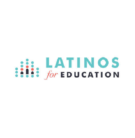 Latinos for Education logo, with cyan, red, and black text, and an icon of three small human figures in a field of cyan dots at left (CZI Education Resource Library).
