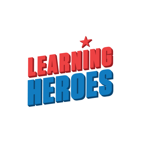 """Learning Heroes logo, with stacked red and blue 3D text, and a red star over the letter """"i"""" in """"Learning"""" (CZI Education Resource Library)."""