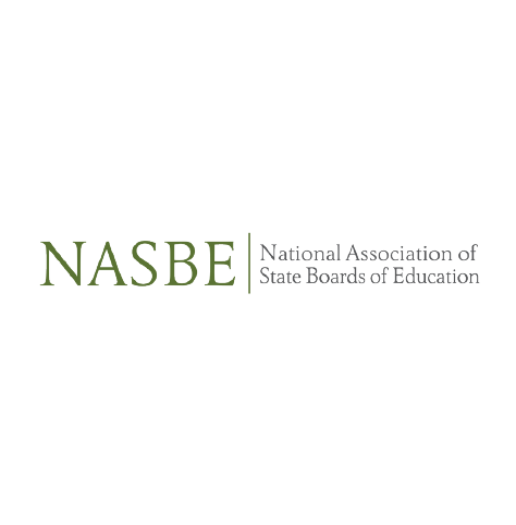 """National Association of State Boards of Education (NASBE) logo with green and black text, and large """"NASBE"""" in all caps at left (CZI Education Resource Library)."""