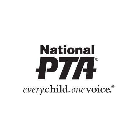 """National PTA logo in black text, on three lines with large stylized """"PTA"""" in the middle, and the phrase """"everychild. onevoice."""" beneath (CZI Education Resource Library)."""