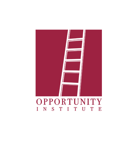Opportunity Institute logo, in dark red with a white ladder inside a large red square above (CZI Education Resource Library).