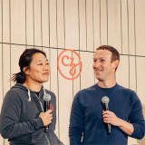 Priscilla Chan and Mark Zuckerberg speaking at a CZI event