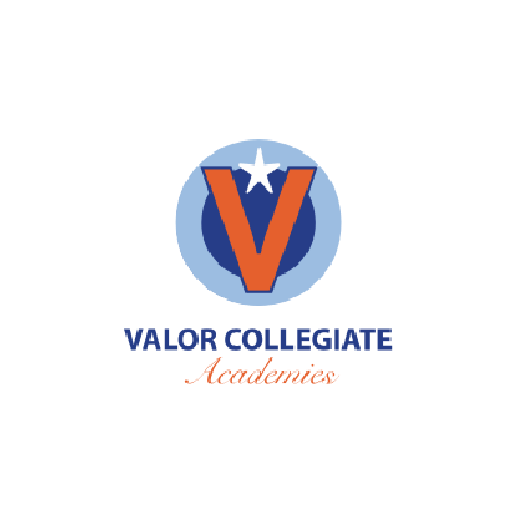 """Valor Collegiate Academies logo, with blue and orange text, beneath the orange letter """"V"""" with a white star on top inside two concentric blue circles (CZI Education Resource Library)."""