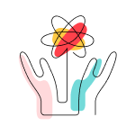 """Stylized """"We build public trust in science"""" icon of two rasied hands, one pink, one blue, beneath a red and yellow atomic symbol."""