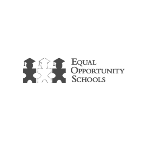 Equal Opportunity Schools logo, with dark gray text and an icon of three alternating black and white figures wearing mortarboards (CZI Education Resource Library).
