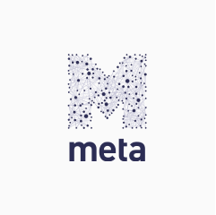 """Meta logo, with large blue letter """"M"""" on top made up of a network of interconnected dots."""