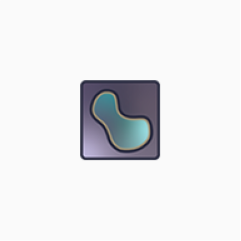 Napari logo of kidney-shaped object on a square background, in shades of cyan on purple.