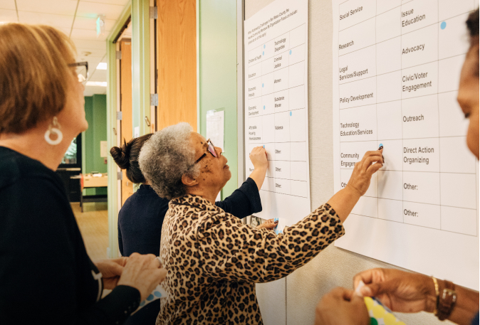 Women with the Belle Haven Community Development Fund working with wall charts at a CZI Community capacity building gathering in Palo Alto.