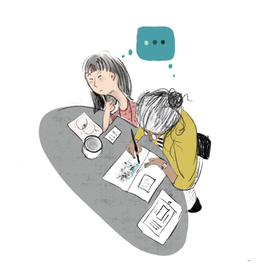 Invest in Open Infrastructure (IOI) cartoon of an older and younger woman working together at a table and sharing the same thought (CZI Open Science).