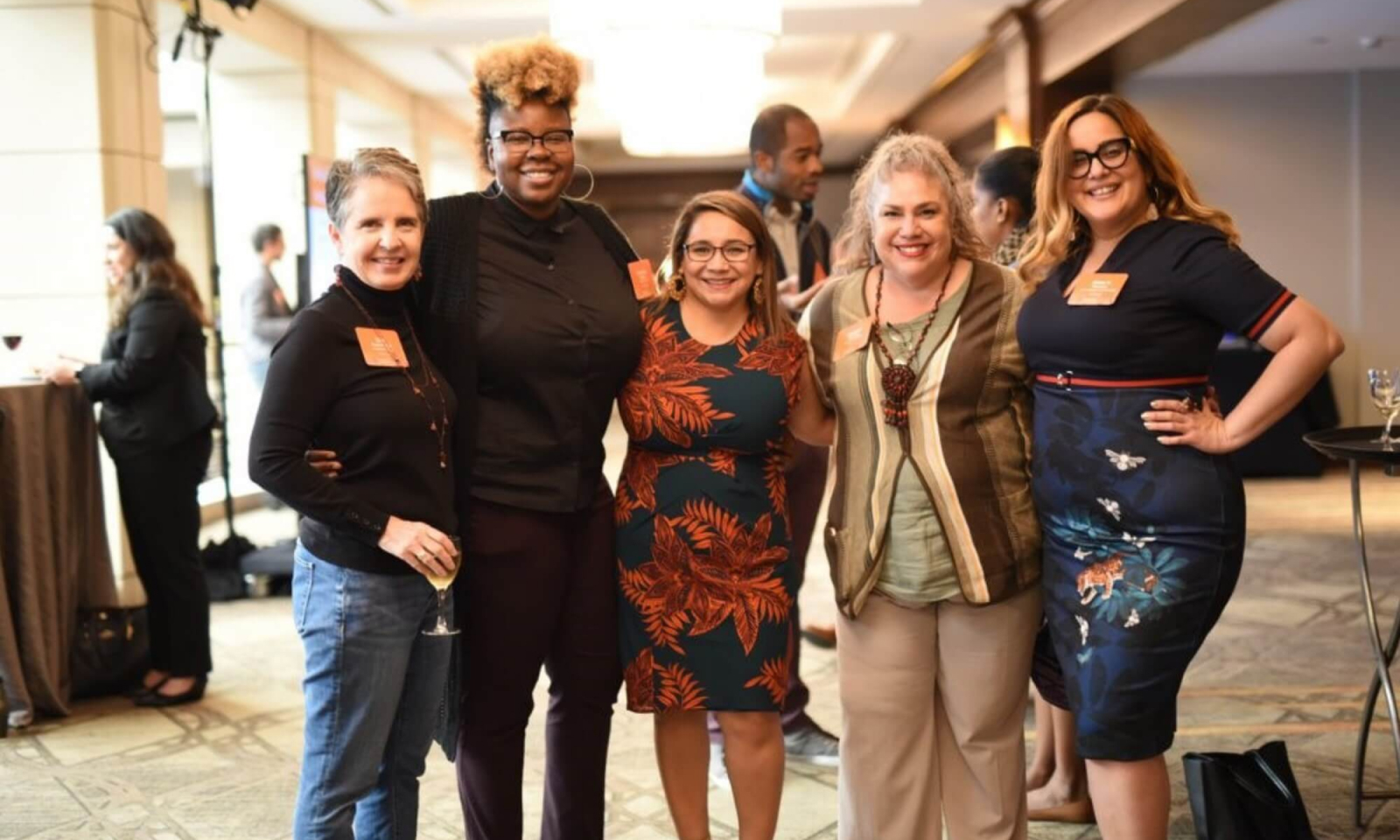 Members Gini Pupo-Walker, Tanesha Peoples, Marisol Quevedo Rerucha, and Alma Marquez meet with founding EdLoC CEO, Layla Avila, at the 2019 EdLoC National Convening. Photo courtesy of EdLoC.A group of EdLoC members at the 2019 National Convening