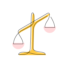 Stylized Justice and Opportunity icon of balancing scales tilting to one side.