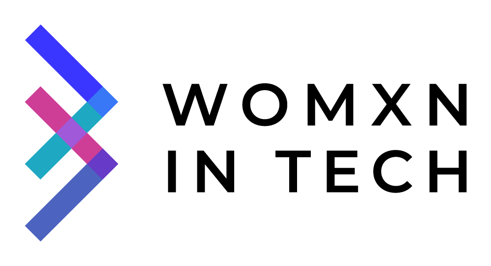 """Womxn in Tech logo, with black text and sideways """"W"""" icon at left in blue, cyan, magenta, and purple - CZI Employee Resource Groups (ERGs)."""