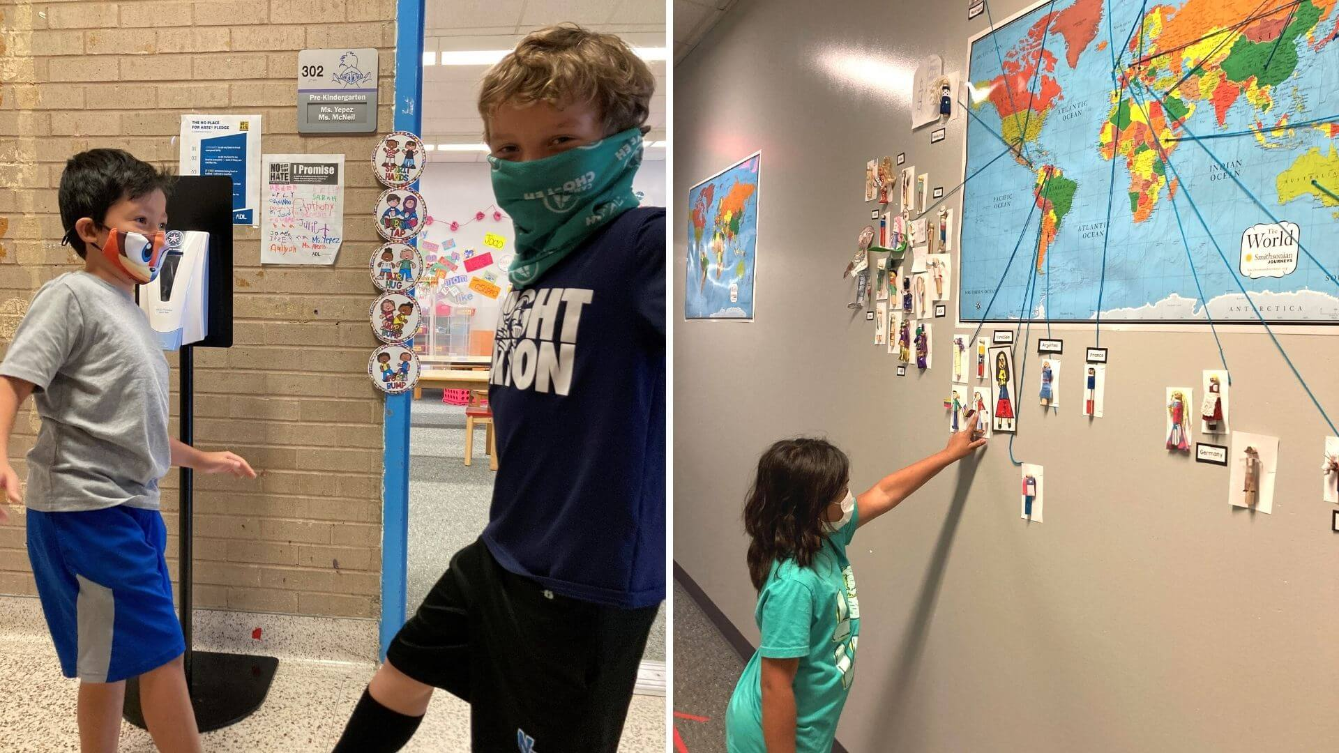Two pictures side-by-side: On left, two students touch feet and look at the camera wearing masks. On right, a student touches a wall where a map is.