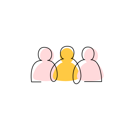 """Stylized CZI """"Organizational"""" capacity building approach icon of the upper halves of three interconnected people, side by side."""