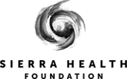 Sierra Health Foundation logo, with black text and swirl icon on top - COVID-19 Response, CZI.