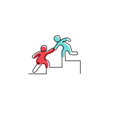"""Stylized CZI """"Network"""" capacity building approach icon of two people reaching out to each other, as they ascend a flight of stairs."""