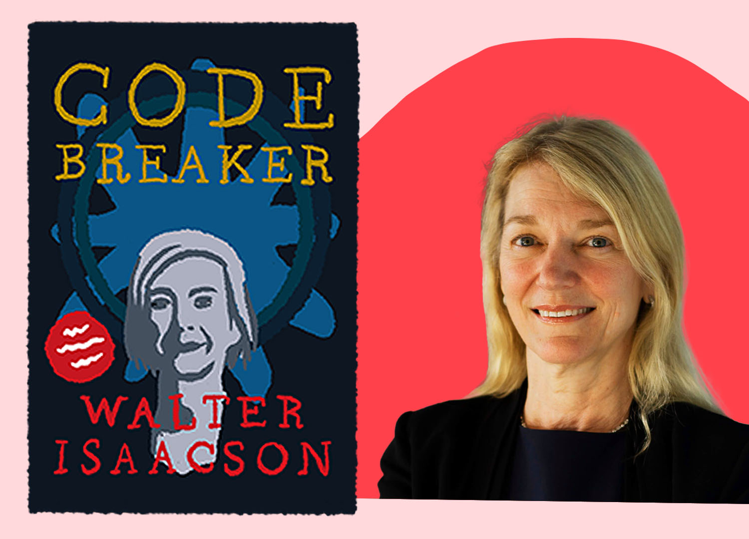 A woman smiles and is pictured next to an illustration of the book Code Breaker.
