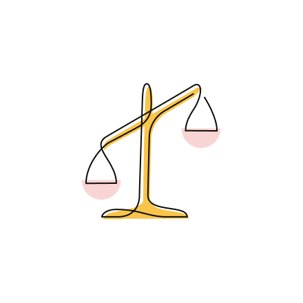 Stylized Justice and Opportunity Partners icon of balancing scales tilting to one side.