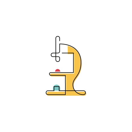 Stylized Science icon of a microscope.