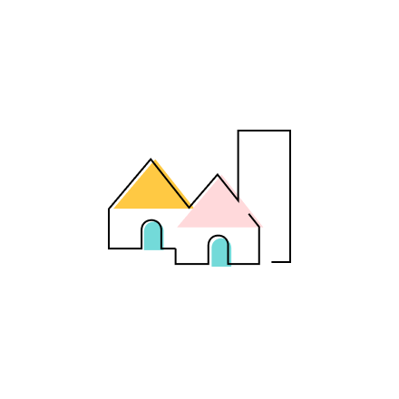 Stylized Community icon of houses and buildings.