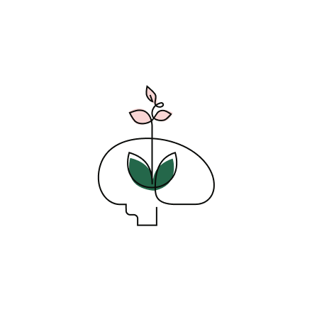 Stylized Education icon of the outline of a brain with a flowering plant rising up in front of it.