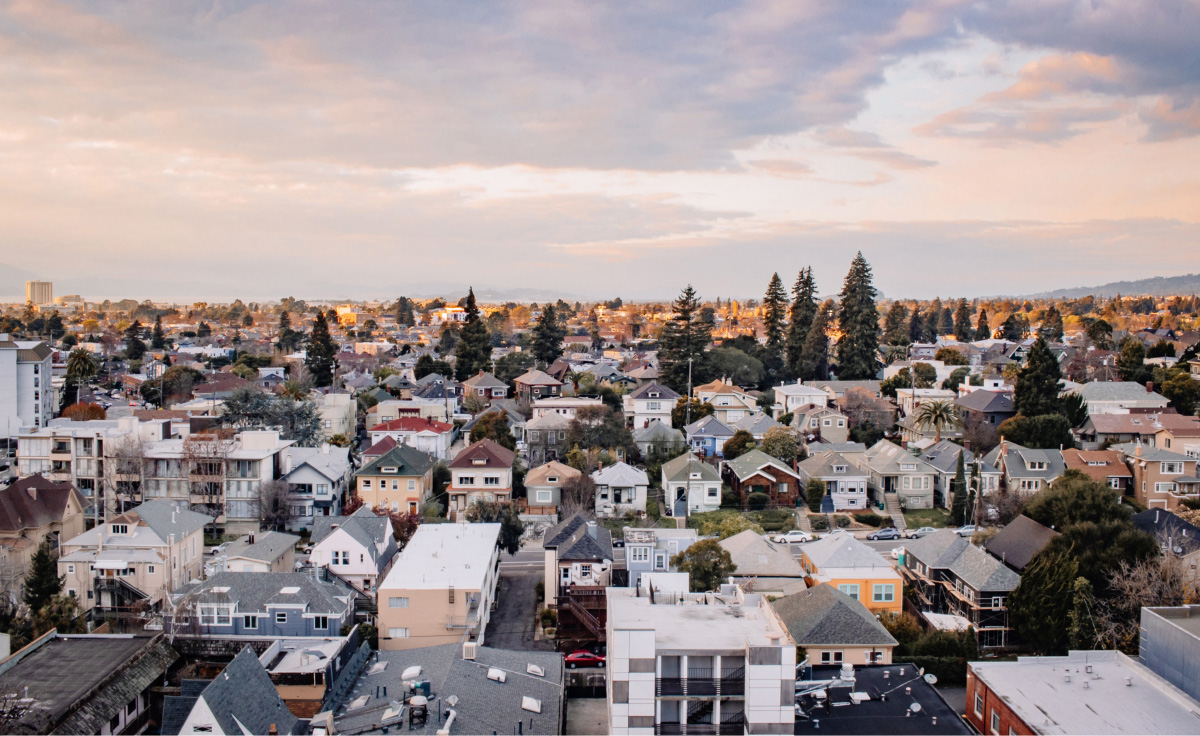 Panoramic view of Oakland neighborhood. CZI supports efforts to produce, preserve, and protect more affordable housing in California (Community).