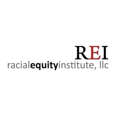 """Racial Equity Institute logo, in black, gray, and red letters with capital """"REI"""" at top (CZI Grant Partner Training Sessions)."""