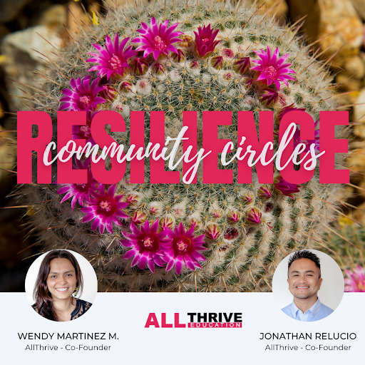 Background image of cactus in bloom, in a red circular pattern, with text overlay community resilience circles. Small circle portrait photos of AllThrive facilitators Wendy Martinez-Marroquin and Jonathan Relucio. AllThrive Education logo in bottom center.