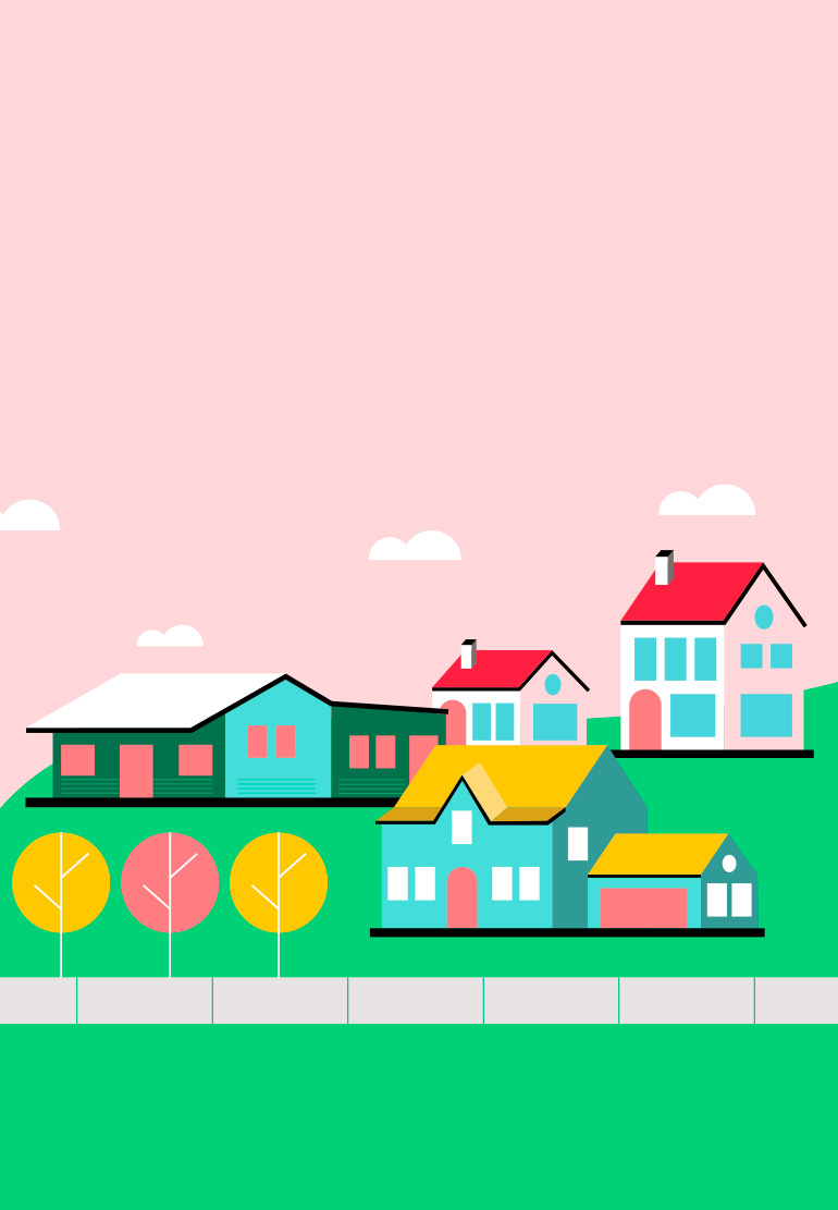 Illustrations of colorful houses.