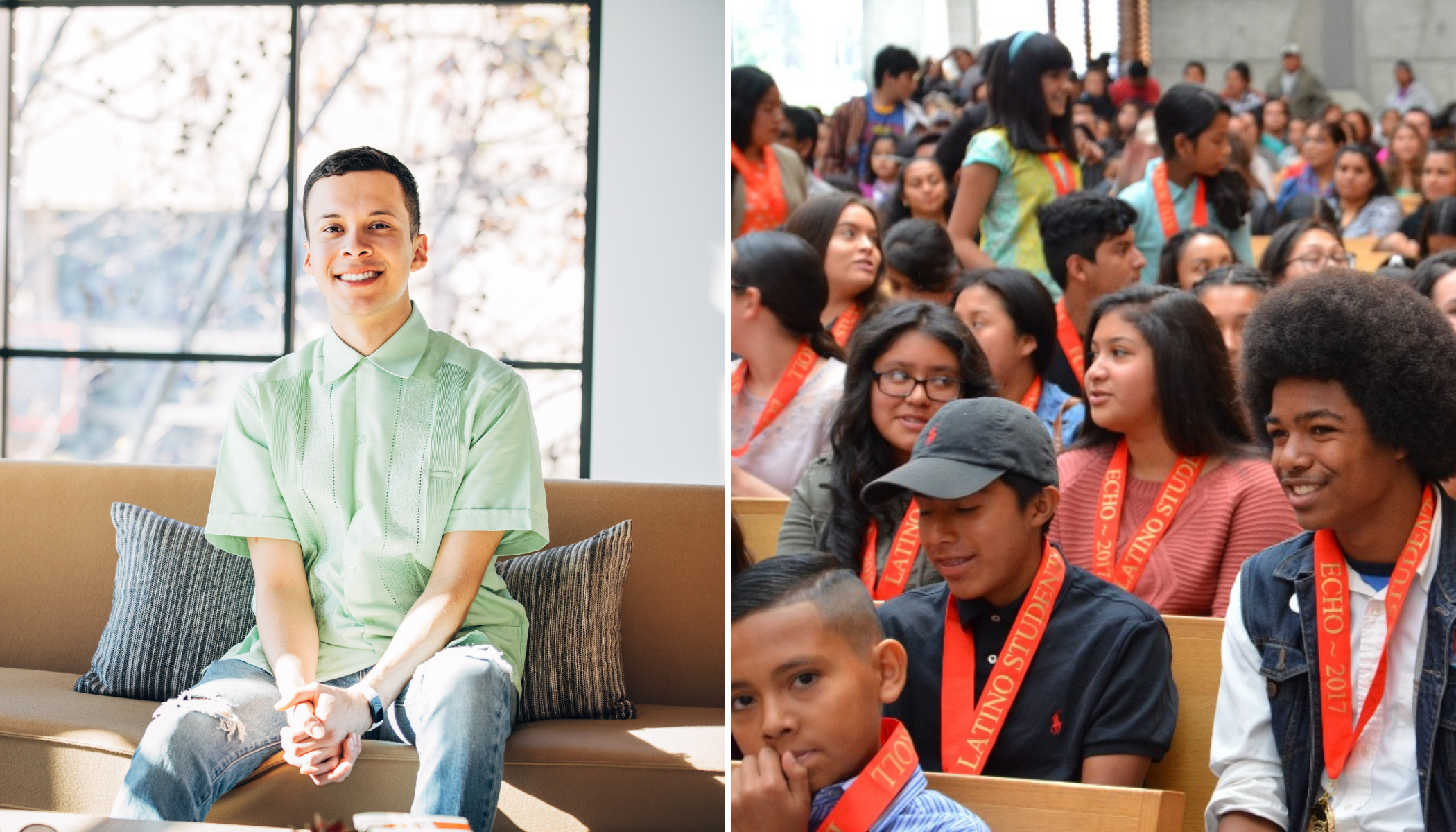 An image of a man in a green shirt smiling next to an image of children with orange medals on.