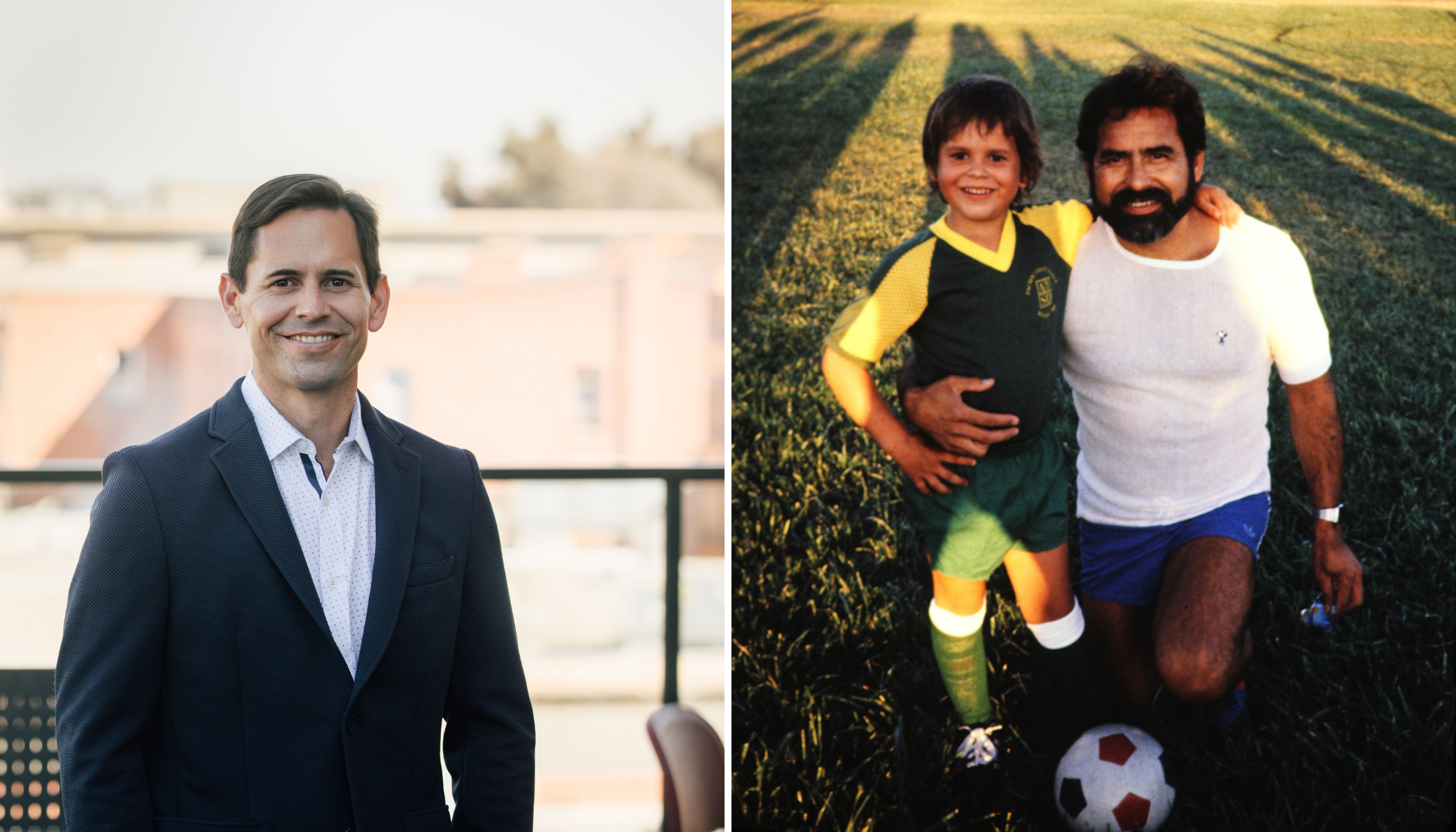 A man in a suit smiles next to a picture of a man kneeling next to his son who is in a soccer uniform.