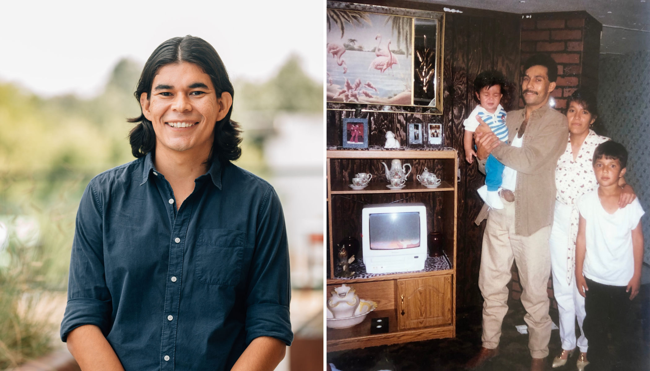 A man wears a blue shirt next to an image of a family of four in their home.